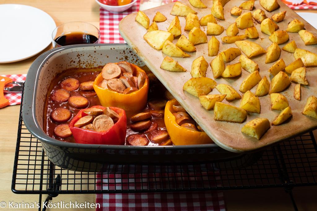 Gefüllte Paprika mit Currywurst und Kartoffelspalten Grundset Pampered Chef