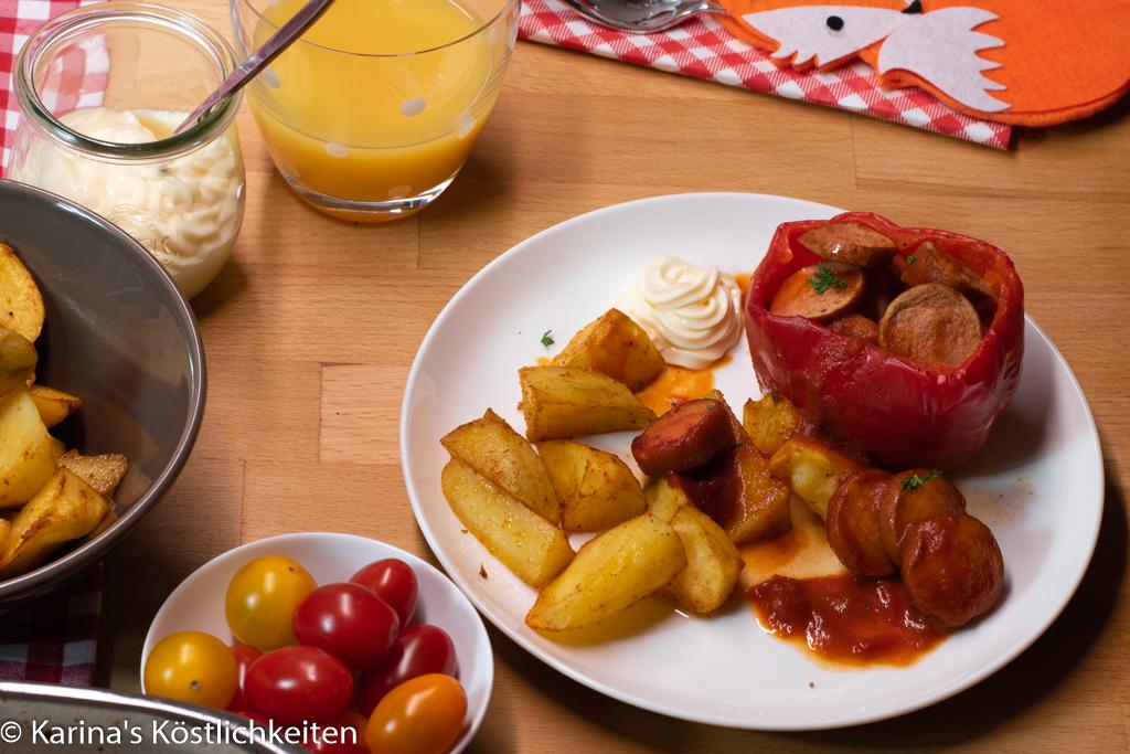 Gefüllte Paprika mit Currywurst und Kartoffelspalten Pampered Chef