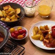 Gefüllte Paprika mit Currywurst