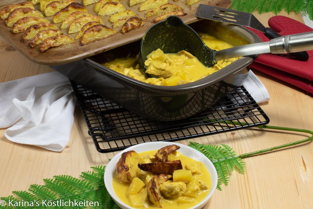 Hähnchen-Curry mit Potato Wedges im Grundset Pampered Chef Rezept