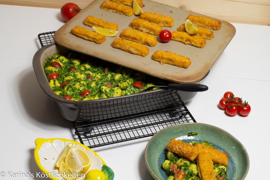 Rezept Spinat-Gnocchi mit Fischstäbchen Pampered Chef