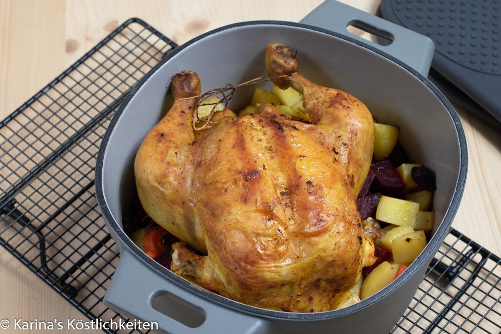 Rezept Poularde auf Kartoffeln-Gemüse-Bett