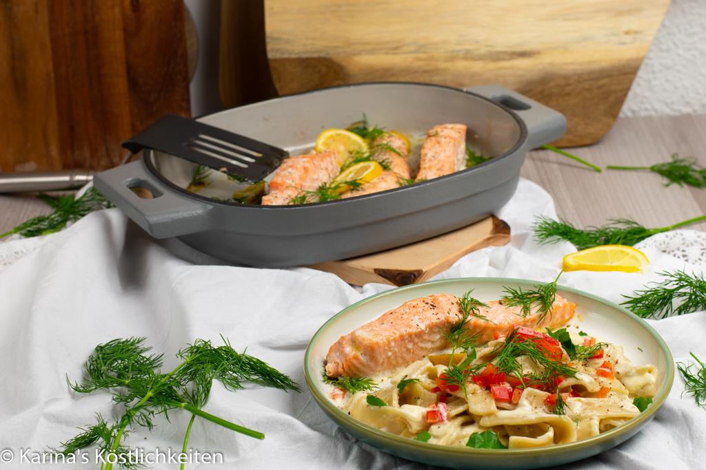 Ofenlachs mit Mascapone-Sahne-Pasta Pampered Chef