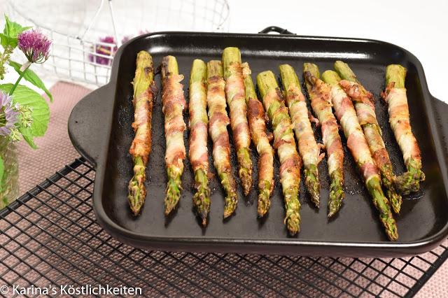 Gegrillter Grüner Spargel mit Bacon