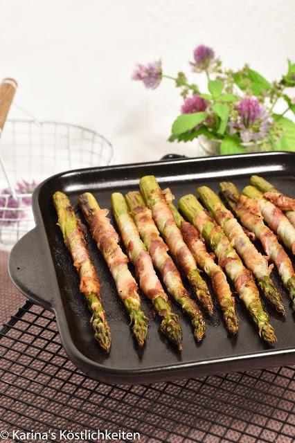 Rezept für gegrillter Grüner Spargel mit Bacon