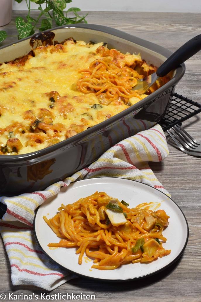Rezept Lachs-Spaghetti-Auflauf Pampered Chef