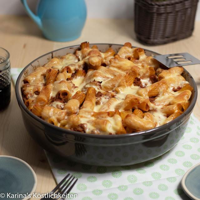 Rezept für Pasta-Hack-Gratin mit geschmolzenen Käseswirls