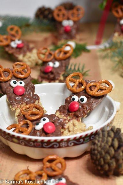 No bake Rentier Marshmallow-Pops-Riegel